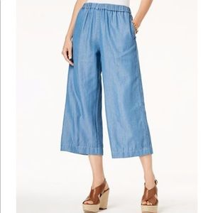 Michael Kors chambray wide leg cropped pants